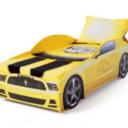 кровать машина мустанг желтая